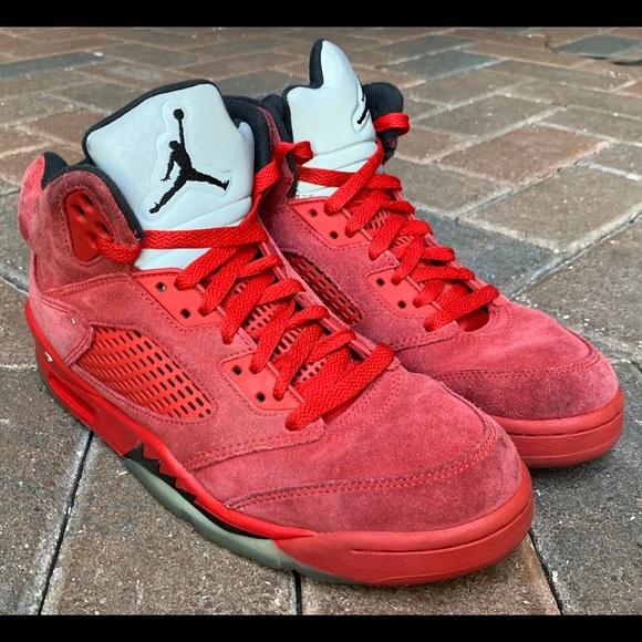 Air Jordan Retro 5 Red Suede | Poshmark